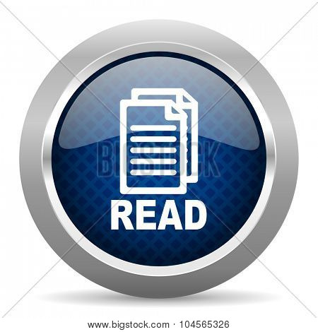 read blue circle glossy web icon on white background, round button for internet and mobile app