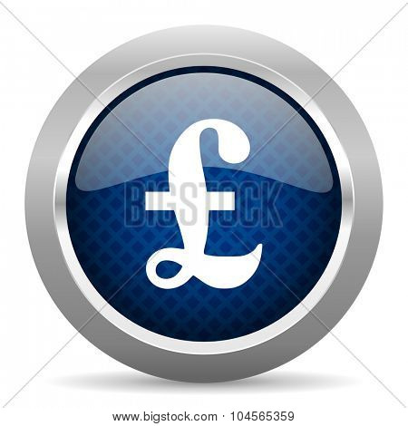 pound blue circle glossy web icon on white background, round button for internet and mobile app