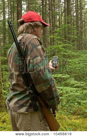 Hunter Checking A Gps