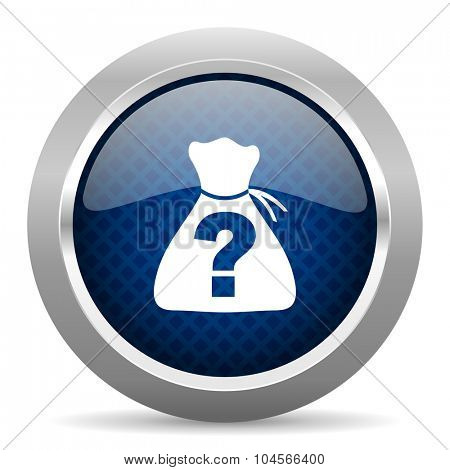 riddle blue circle glossy web icon on white background, round button for internet and mobile app