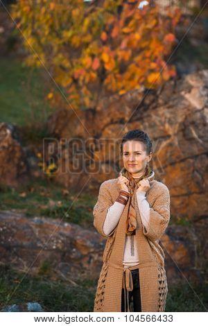 Relaxed Brunette Woman Walking In Beautiful Evening Autumn Park