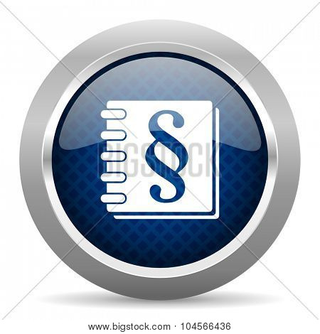 law blue circle glossy web icon on white background, round button for internet and mobile app
