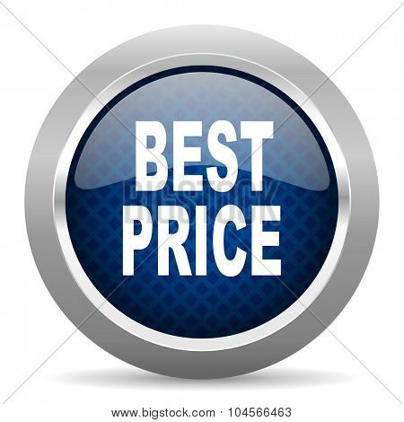 best price blue circle glossy web icon on white background, round button for internet and mobile app