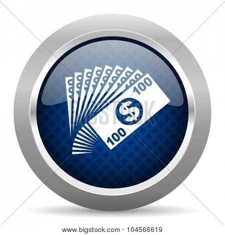 money blue circle glossy web icon on white background, round button for internet and mobile app