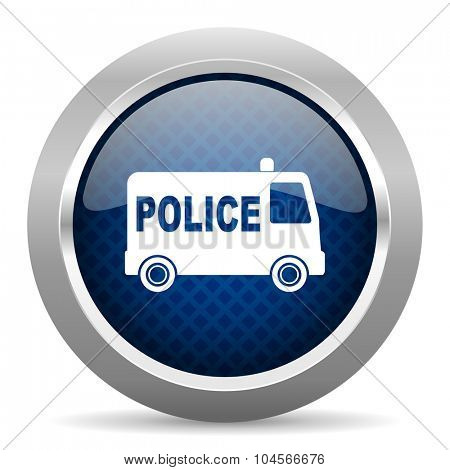 police blue circle glossy web icon on white background, round button for internet and mobile app