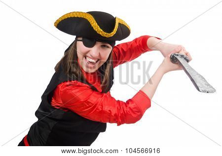 Female pirate holding sword isolated on white