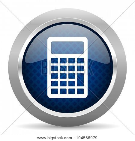 calculator blue circle glossy web icon on white background, round button for internet and mobile app