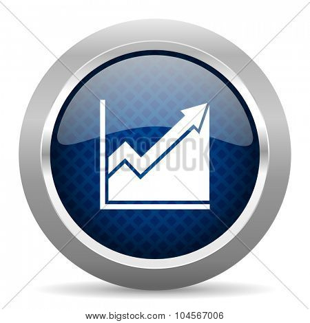 histogram blue circle glossy web icon on white background, round button for internet and mobile app