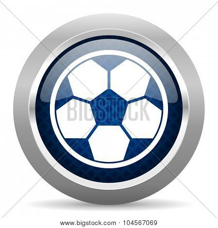 soccer blue circle glossy web icon on white background, round button for internet and mobile app