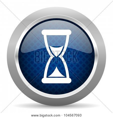 time blue circle glossy web icon on white background, round button for internet and mobile app
