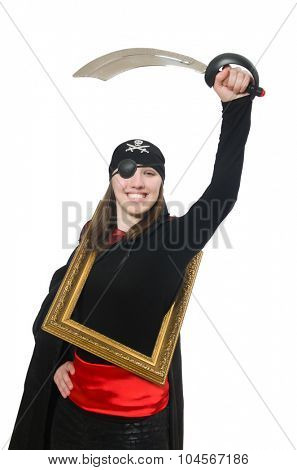 Female pirate with sword and photo frame isolated on white