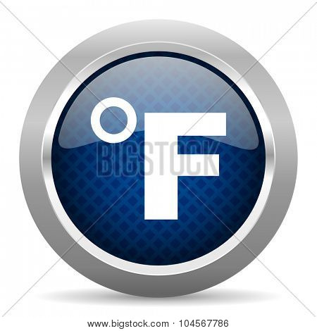 fahrenheit blue circle glossy web icon on white background, round button for internet and mobile app
