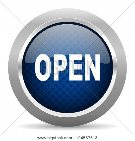 open blue circle glossy web icon on white background, round button for internet and mobile app