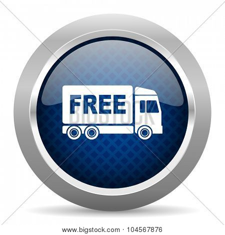 free delivery blue circle glossy web icon on white background, round button for internet and mobile app