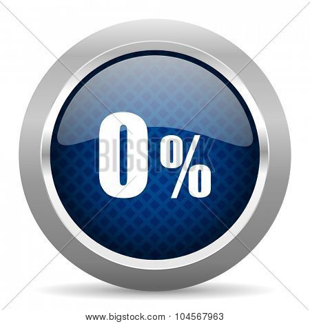 0 percent blue circle glossy web icon on white background, round button for internet and mobile app