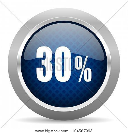30 percent blue circle glossy web icon on white background, round button for internet and mobile app