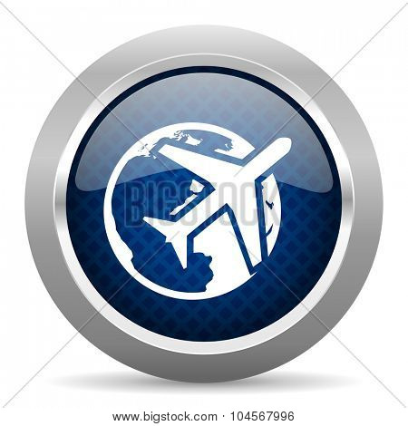 travel blue circle glossy web icon on white background, round button for internet and mobile app