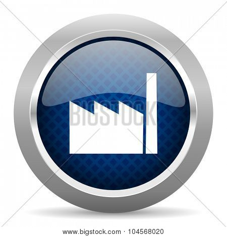 factory blue circle glossy web icon on white background, round button for internet and mobile app