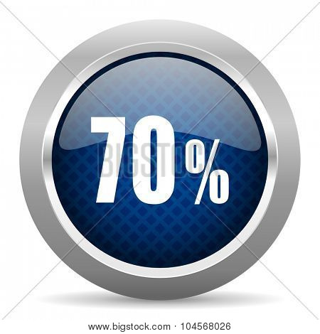 70 percent blue circle glossy web icon on white background, round button for internet and mobile app