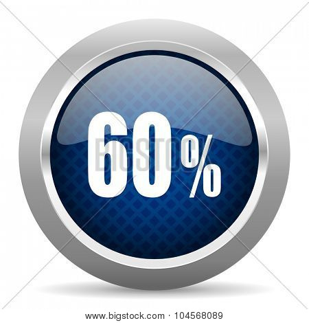 60 percent blue circle glossy web icon on white background, round button for internet and mobile app