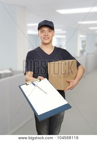 Man delivering package to homeowner