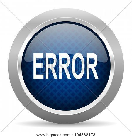 error blue circle glossy web icon on white background, round button for internet and mobile app