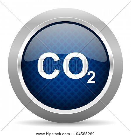 carbon dioxide blue circle glossy web icon on white background, round button for internet and mobile app