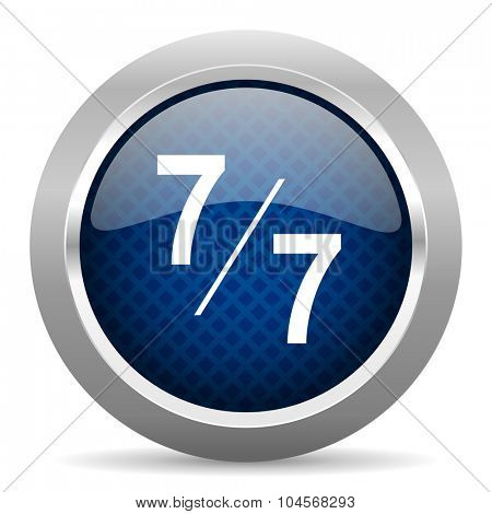 7 per 7 blue circle glossy web icon on white background, round button for internet and mobile app