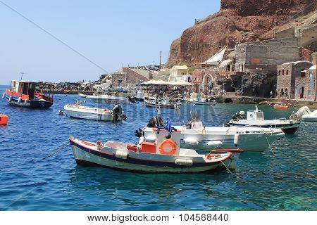 Fishing Boats In Ammoudi Bay, Port Of Oia, Santorini, Greece