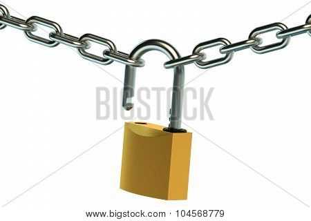 Opened Padlock And Chain
