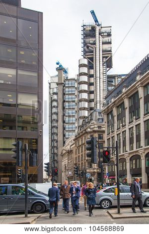 LONDON, UK - APRIL 22, 2015: Lloyds of London building, view from the City street