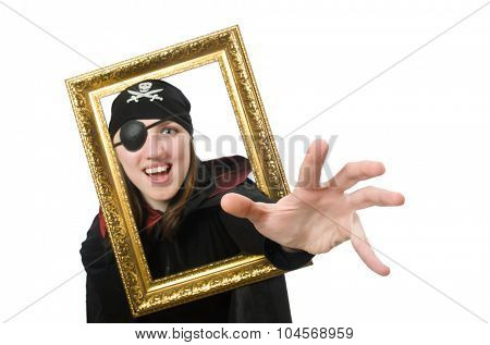 Female pirate in black coat holding photo frame isolated on white