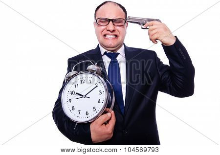 Businessman under time pressure isolated on white