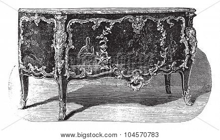 Lacquered chest of drawers with bronze ornaments attribute to Caffieri (eighteenth century), vintage engraved illustration. Industrial encyclopedia E.-O. Lami - 1875.