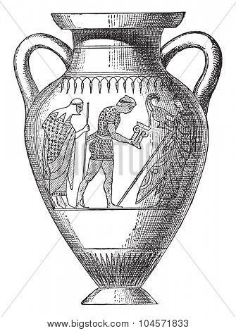 Vase painted with black figures, vintage engraved illustration.