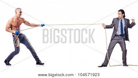 Tug of war concept isolated on white