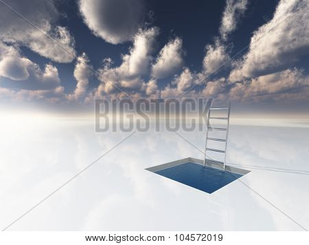 Ice like surface with pool of water and ladder