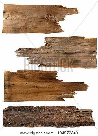 Four old wooden boards isolated on a white background. Old Wood plank