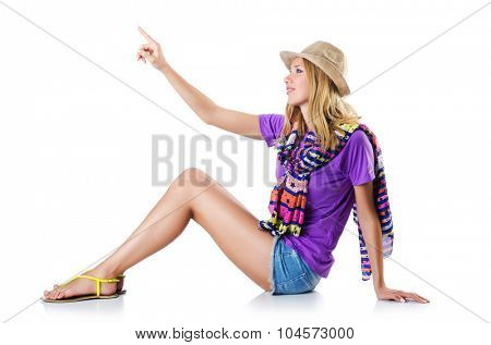 Woman clicking virtual button isolated on white