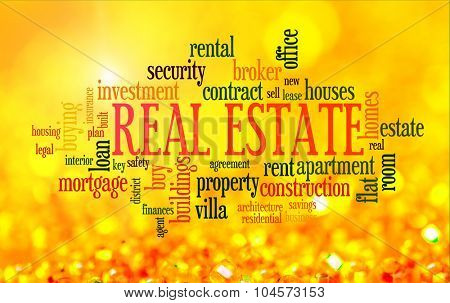 Buying home issues info-text word cloud on yellow golden background