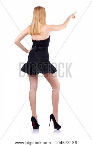 Sexy blonde girl presses virtual button isolated on white