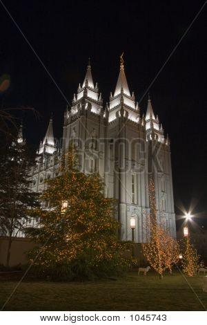 Salt Lake Temple South And East Side With Christmas Tree