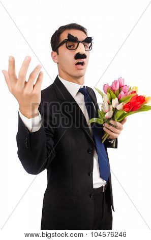Funny man with flowers isolated on white