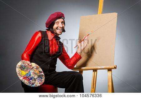 Man artist in art concept