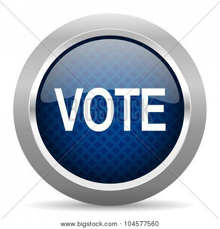 vote blue circle glossy web icon on white background, round button for internet and mobile app