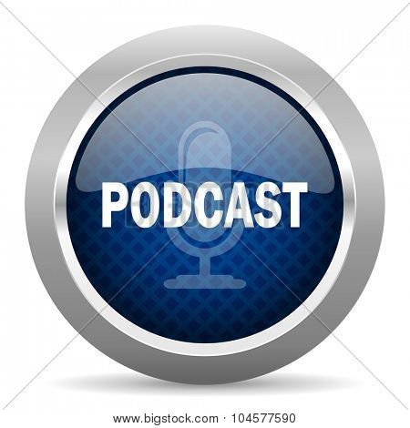 podcast blue circle glossy web icon on white background, round button for internet and mobile app