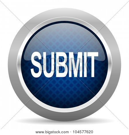 submit blue circle glossy web icon on white background, round button for internet and mobile app