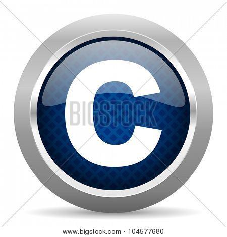 copyright blue circle glossy web icon on white background, round button for internet and mobile app