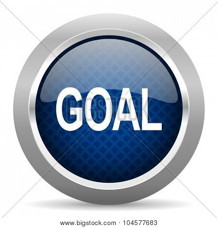 goal blue circle glossy web icon on white background, round button for internet and mobile app