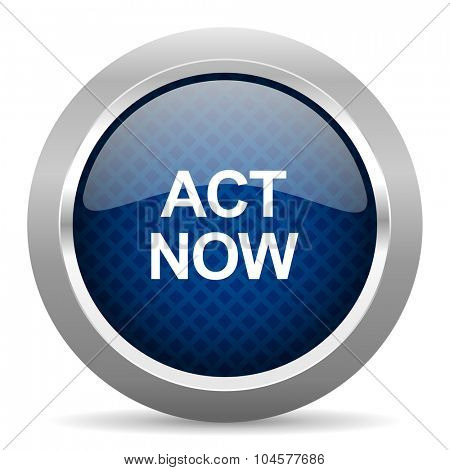 act now blue circle glossy web icon on white background, round button for internet and mobile app